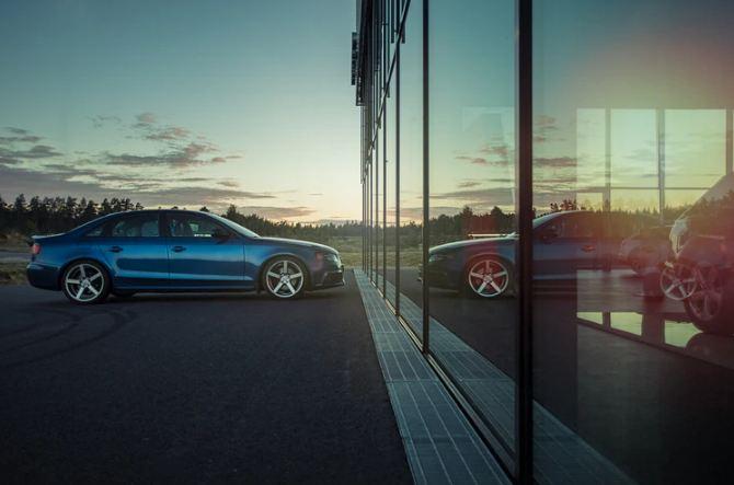 A photo of a blue sedan